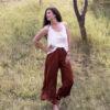 Широк панталон INDIA RED от премиум лен