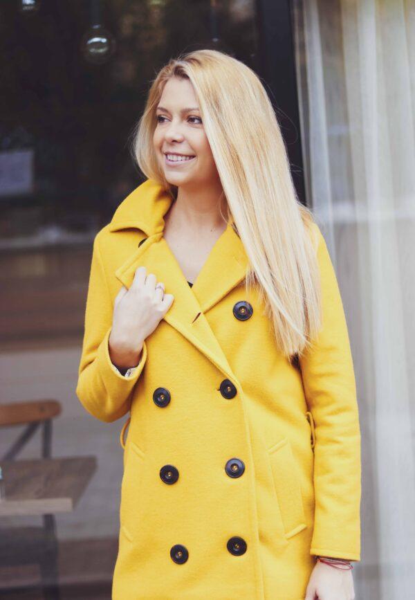 Жълто палто с копчета Ginger Honey