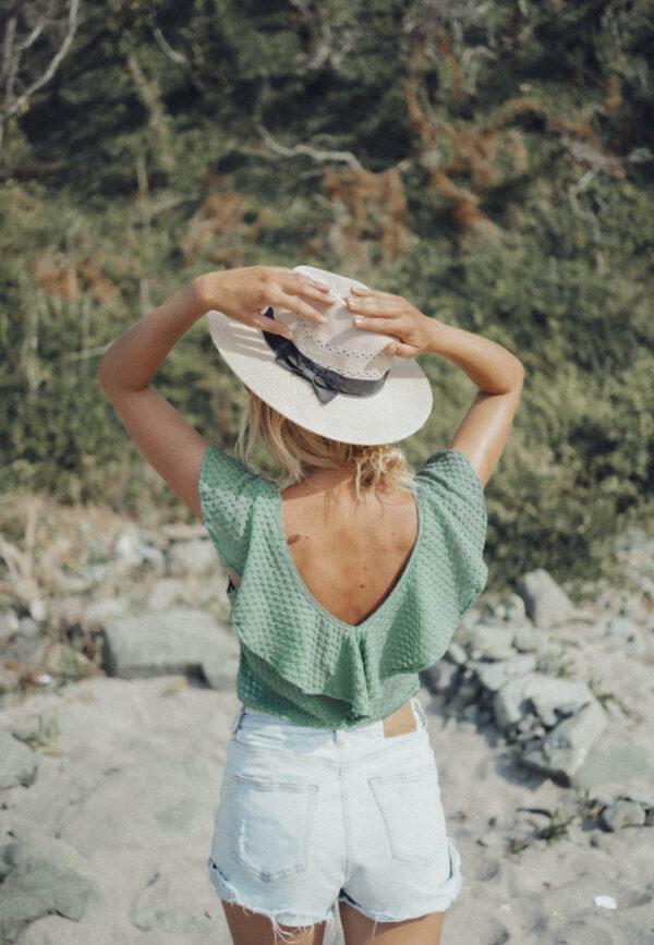 Зелена блуза OLIVIA с къдрици