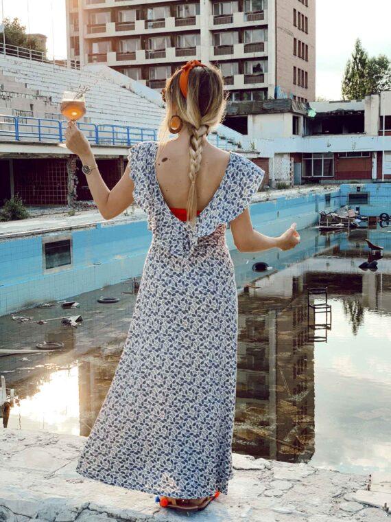 Дълга рокля FRANCESCA на бели цветя