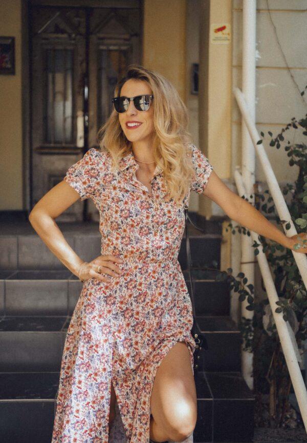 Дълга рокля риза DEVA с флорални мотиви