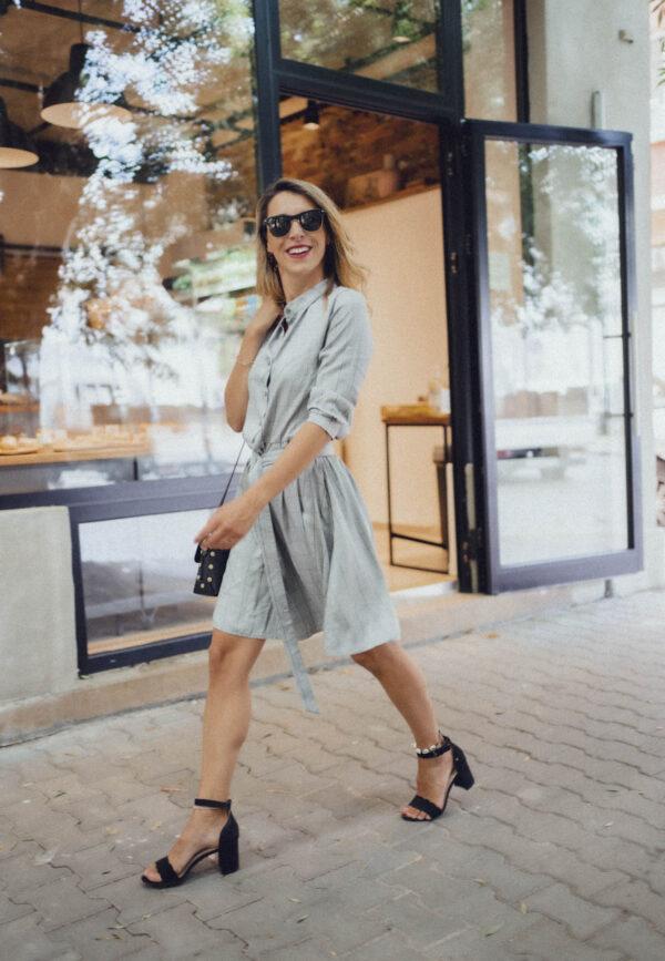 Къса сива рокля риза THEA